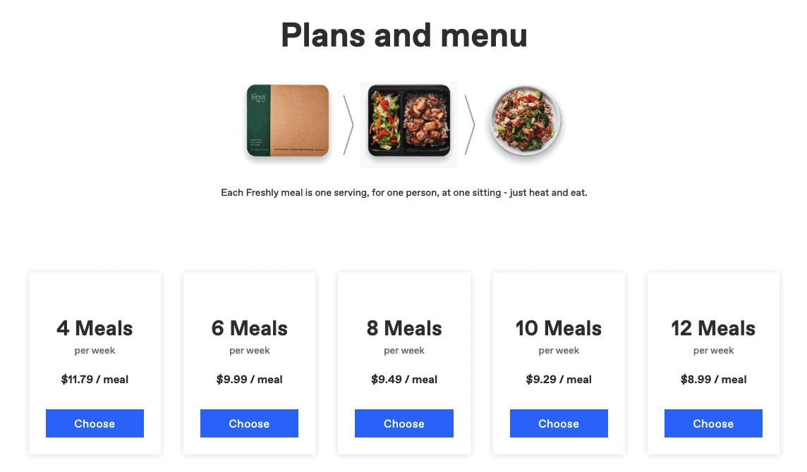 freshly plans and menu